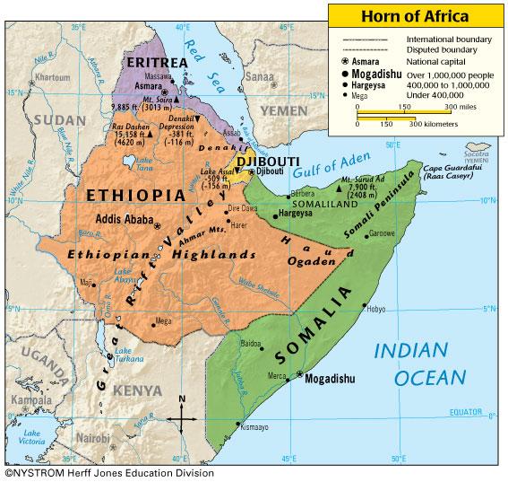 Horn of Africa Map Horn of Africa Map Horn Africa